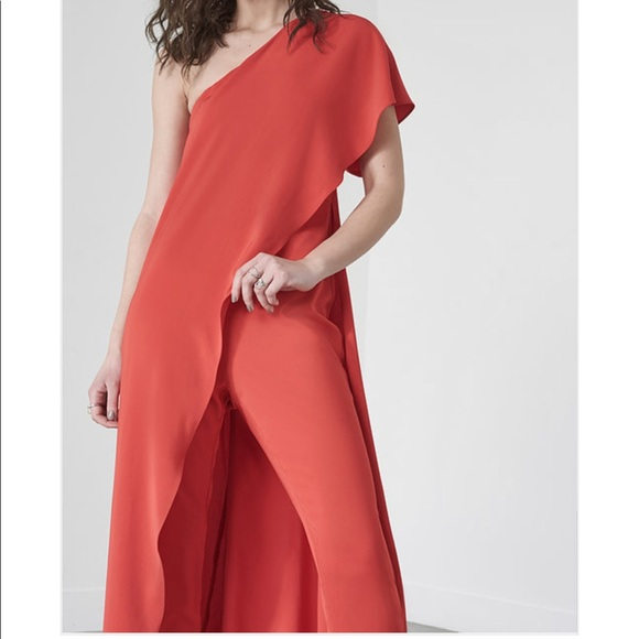 9e5d25427b6a Lavish Alice Red Asymmetric Overlay Jumpsuit